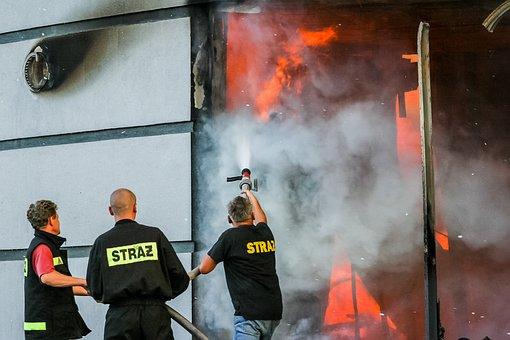Fire, Fireman, Firefighter, Team, Teamwork, Burn, Flame
