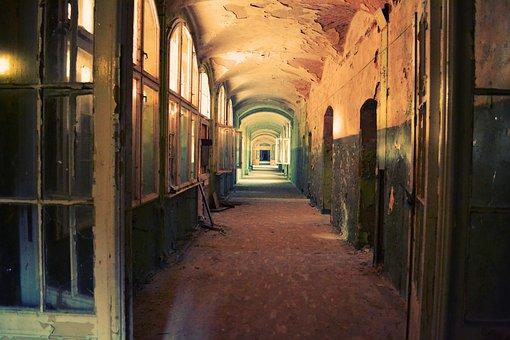 Corridor, Hallway, Old, Run-down, Indoors, Empty