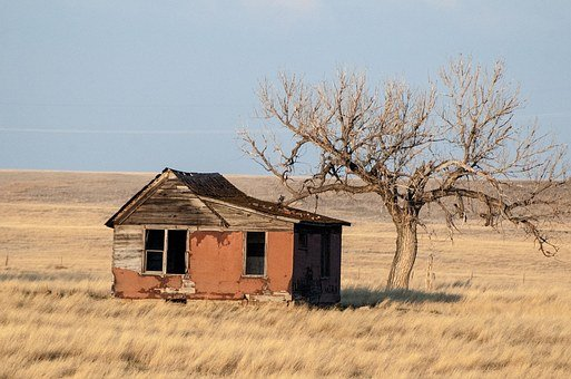 Abandoned, House, Prairie, Old, Home, Architecture