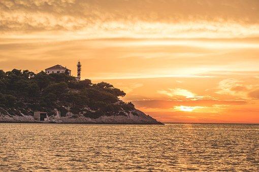Lighthouse, Sunset, Sea, Croatia, Dawn, House, Island