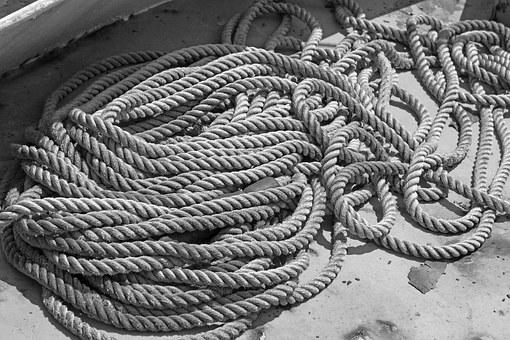 Black And White, Rope, Marine, Nautical, Tangled Rope