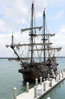 Galleon, Ship, Moored, Sail, Vessel, Nautical