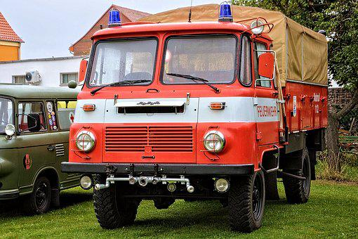 Firefighter Vehicle, Fire, Old, Oldtimer, Historically