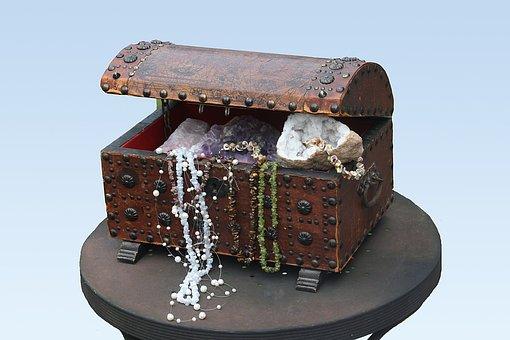 Treasure Chest, Chest, Gems, Box, Open, Decoration