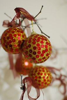 Ornament, New Year, Christmas, Holiday, Red, Gold