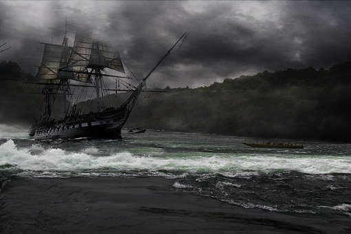 Sailing Ship, Rushing Water, River, Ship, Vessel