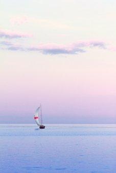 Sailboat, Water, Dusk, Vertical, Summer, Yacht, Travel