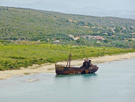 Shipwreck, Coast, Hulk, Beach, Boat, Wreck, Rust, Sand
