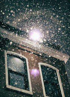Snow, Night, City, Winter, Christmas, Season, Holiday