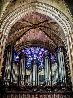 Organ, Paris, Cathedral, Rosette, Stained Glass Window