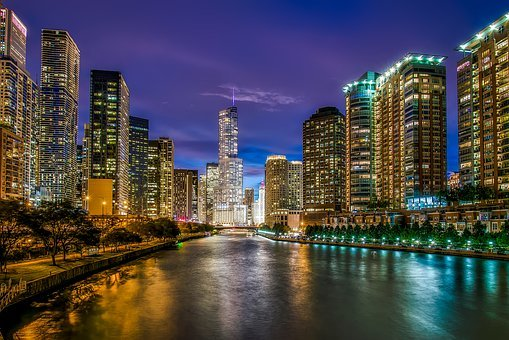 Chicago, Illinois, River, Water, Reflections, Sunset