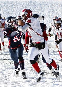 American Football, Running Back, Snow, Tackle