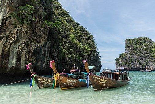 Phi Phi Island Tour, Phuket, Thailand, Colorful Boats