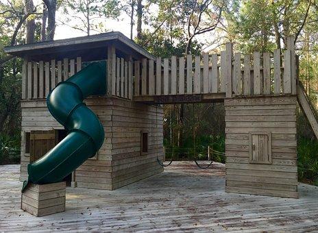 Playground, Treehouse, Tree, House, Summer, Park, Empty