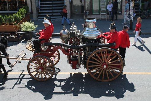 History, Firefighter, Truck, Older Vehicles, Horses
