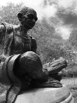 London, Monument, Gandhi, Tavistock Square, Uk, England