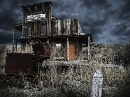 Ghost Town, Wild West, Village, Wood, Building, House