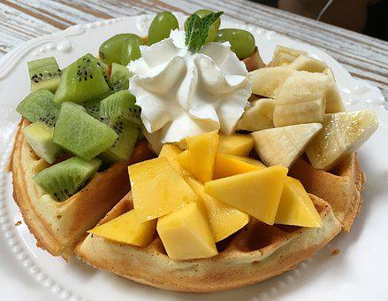 Afternoon Tea, Waffles, Fruit