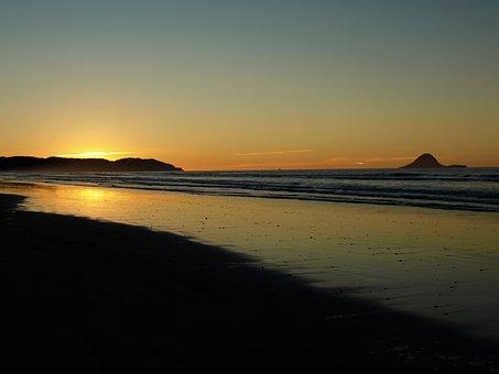 Sunset, Ohope, Beach, New Zealand, Ocean, Whakatane