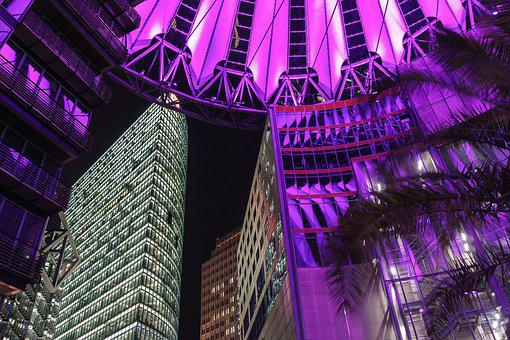 Berlin, Capital, Sony Center, Berlin Center, Night