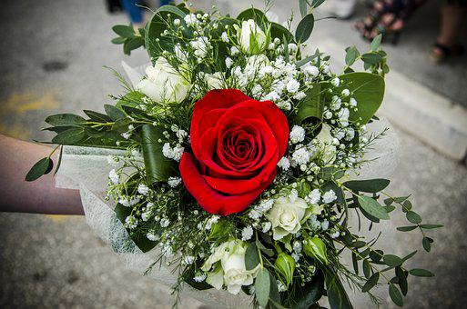 Flowers, Flower Bouquet, Blossom, Rose, Beautiful, Red