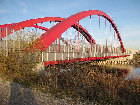 Bridge, Red, Architecture, River, Water, Germany