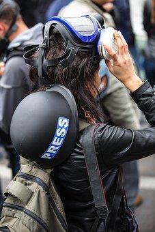 Press, Violence, Gas Mask, Journalist, Human, Attack