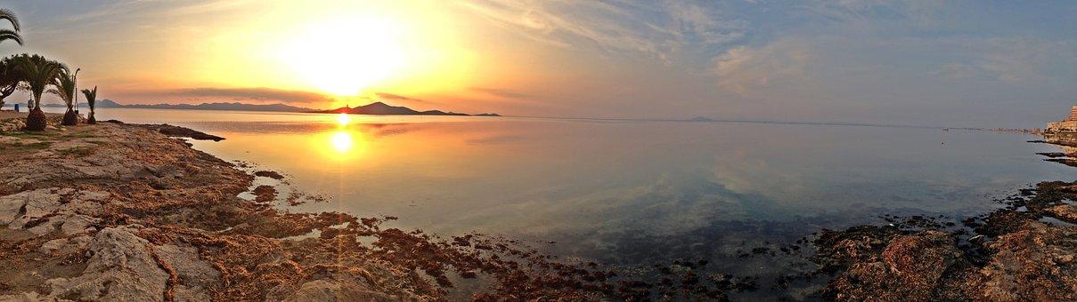 Sunset, Sea, Less, Sleeve, Murcia, Spain, Sun, Sky