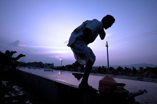 Pushkar, India, Man, Water, Early Morning, Asia