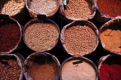Food, Legumes, Baskets, Market, Oil, Organic, Healthy