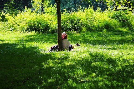 Park, Alone, Green, Outdoor, Girl, Person, Female