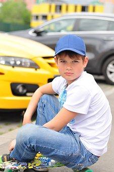 Boy, Skate, Schoolboy, Summer, Vacation, Travel, Sun