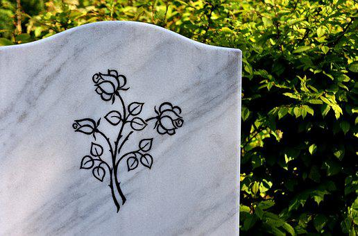 Marble Plathe, Tombstone, Roses, Cemetery