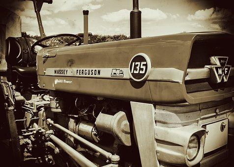 Tractor, Oldtimer, Massey Ferguson, Motor, Hood, Old