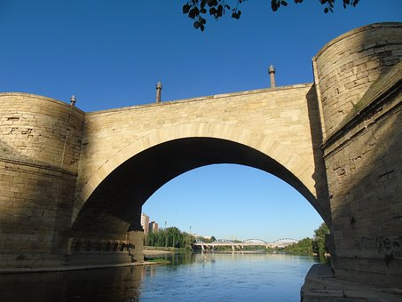 Bridge, Ebro, Saragossa, Water, River, Landscape
