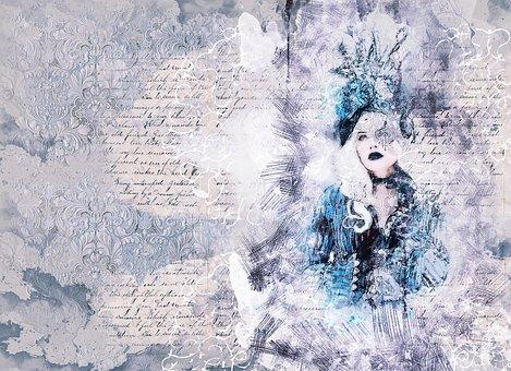 Woman, Fashion, Blue Dress, Art, Abstract, Artistic