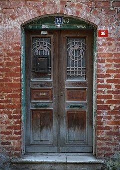 Door, Old, Building, Structure, Brick, Wall, On