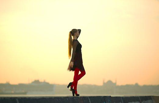 Red, Socks, Model, Aesthetics, Portrait, Dress, Hair