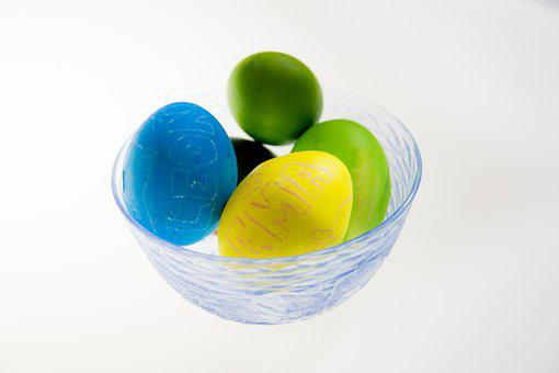 Ester Eggs, Blue, Yellow, Green, Easter, Decoration