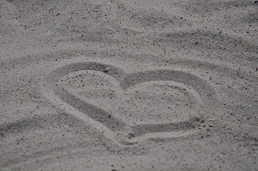 Heart, Beach, Falling In Love, Romantic