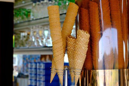 Ice Cream Cones, Ice Cream Parlour, Ice, Summer, Sweet