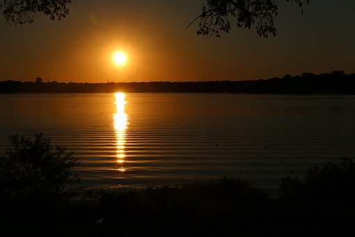 Dallas, Tx, Sundown, Sunset, Nature, Lake, Water, Peace