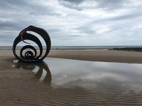 Sculpture, Metal, Beach, Reflections, Sky, Landmark