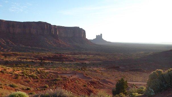 Desert Morning, Monument Valley, Red, Dirt, Sunrise