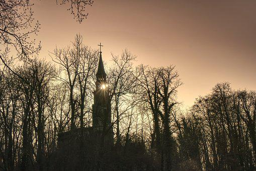 Church, Ruins, Trees, In The Evening, Sun, Neogotika