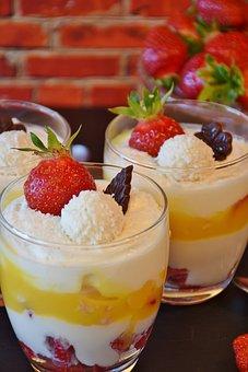 Quark, Quark Cream, Strawberries, Advocaat, Cream, Food