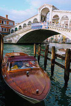 Venice, Rialto, Bridge, Boats, Channel, Venetian
