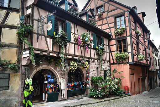 Half-timbered House, Village, Shop, Street