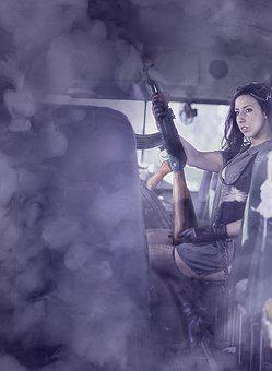 War, Bus, Smoke, Apocalypse, Girl, Ak-47