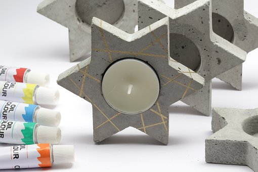 Candle, Concrete, Painted, Home Decor, Creative